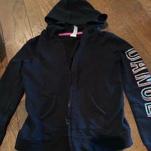 Girls black zip hoodie